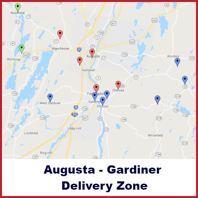 Augusta - Gardiner Heating oil delivery map