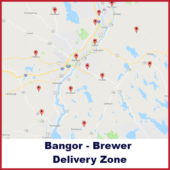 Bangor - Brewer Heating oil delivery map