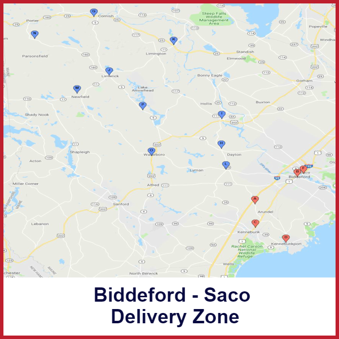 Biddeford- Saco Heating oil delivery map