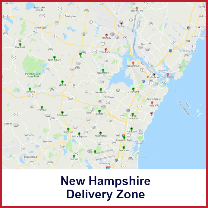 Portsmouth - Exeter New Hampshire Heating oil delivery map