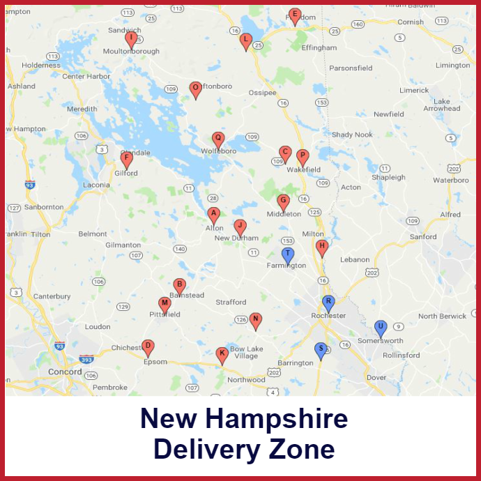 Rochester Somersworth New Hampshire Heating oil delivery map