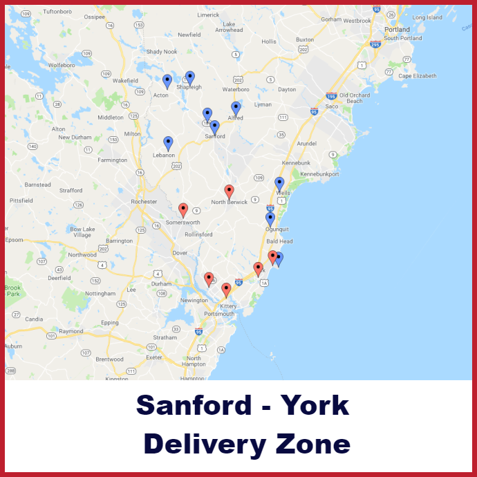 Sanford - York Heating oil delivery map
