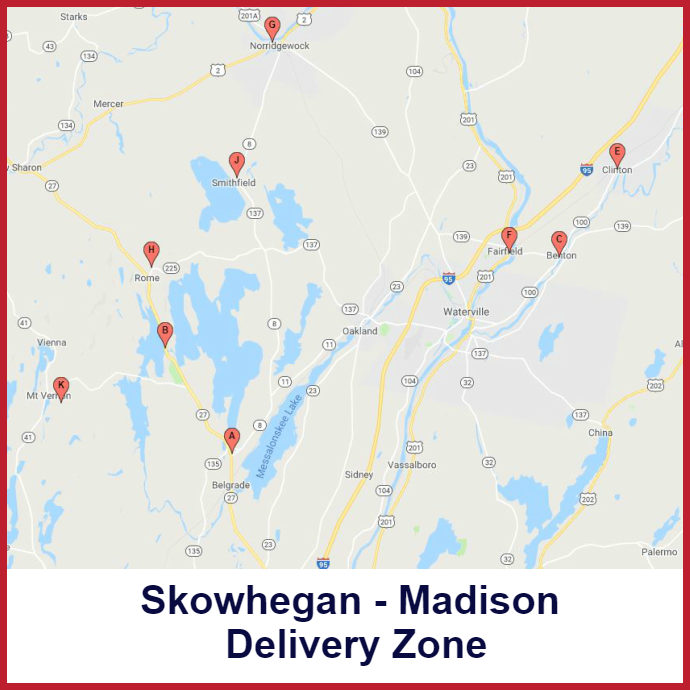 Skowhegan - Madison Heating oil delivery map