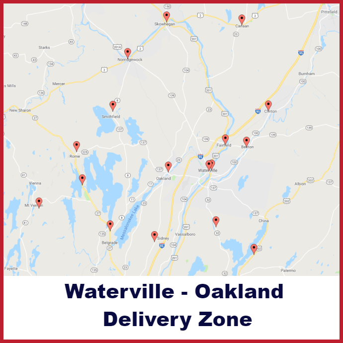Waterville - Oakland Heating oil delivery map